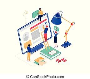 isometrico, colorito, media, moderno, -, illustrazione, vettore, marketing, sociale