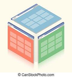 isometrico, colorito, semplice, illustrazione, fondo., finestra, vettore, bianco, browser