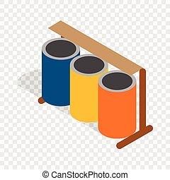 isometrico, colorito, tre, selettivo, lattine, rifiuti, icona