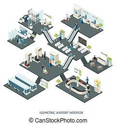 isometrico, composizione, aeroporto, corridoi