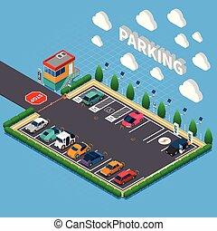 isometrico, composizione, lotto, parcheggio