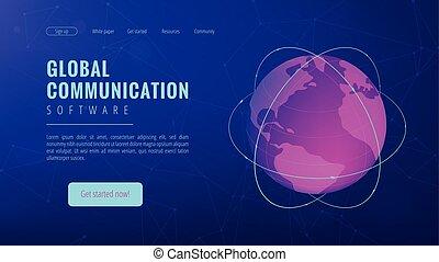 isometrico, comunicazione, concept., globale, atterraggio, pagina