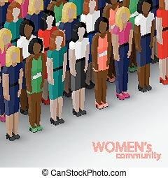 isometrico, comunità, vettore, larg, illustrazione, donne,...