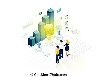 isometrico, concetto, affari, brainstorming, su, creativo, inizio, idea, teamwork., riunione squadra