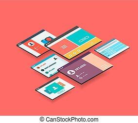 isometrico, concetto, app