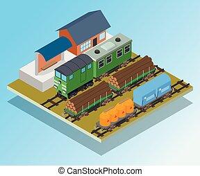 isometrico, concetto, bandiera, stile, stazione treno