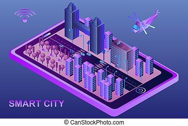 isometrico, concetto, city., illustrazione, fili, collegato, devices., far male