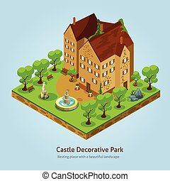 isometrico, concetto, disegno, castello, paesaggio