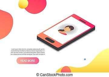 isometrico, concetto, entrante, vettore, chiamata, icon.isometric, smartphone, 3d