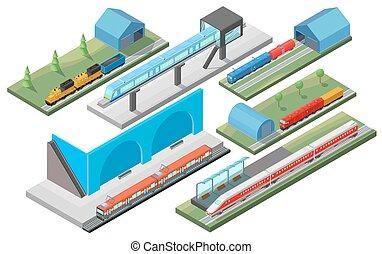 isometrico, concetto, ferrovia, trasporto