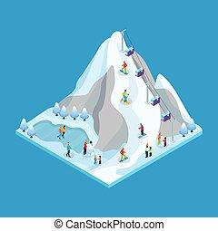 isometrico, concetto, inverno, attività agio