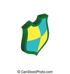 isometrico, concetto, scudo, stile, protezione, icona, 3d