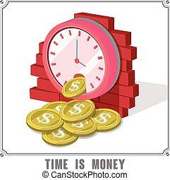 isometrico, concetto, soldi, infographic, tempo, 3d