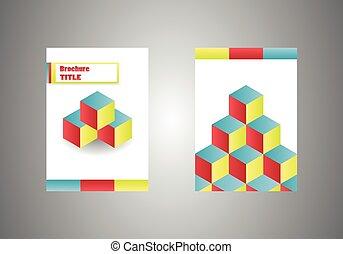 isometrico, cubi, colorito, affari, rivista, coperchio, vettore, disegno, sagoma, opuscolo, o, e-libro