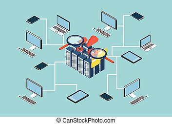 isometrico, database, ricerca, server, disegno, dati, 3d