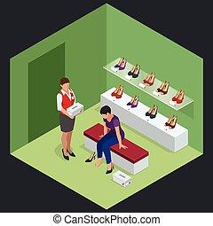 isometrico, donna, scarpe, giovane, illustrazione, alto, infographics., vettore, stare in piedi, scegliere, store., negozio scarpa, heels.