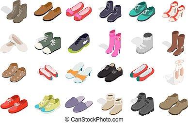 isometrico, donna, scarpe, set, stile, icona, uomo