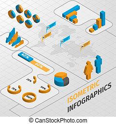 isometrico, elementi, disegno, affari, infographics
