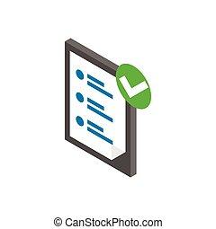 isometrico, elenco, stile, icona, assegno, 3d