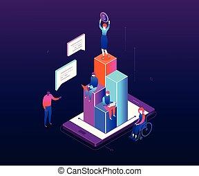 isometrico, finanziario, colorito, moderno, -, illustrazione, vettore, crescita