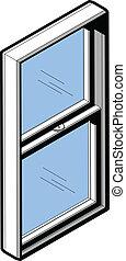 isometrico, finestra