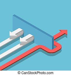 isometrico, freccia, successo, parete, modo, passare, trovare, rosso