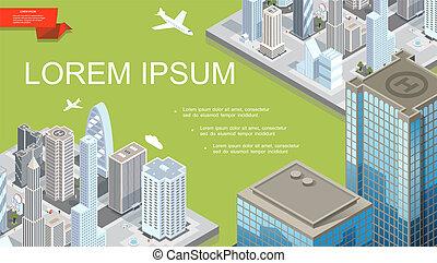 isometrico, futuristico, città, paesaggio, sagoma