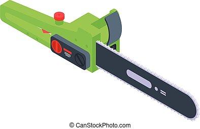 isometrico, icona, motosega, stile, elettrico, verde