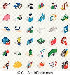 isometrico, icone affari, set, stile, creativo