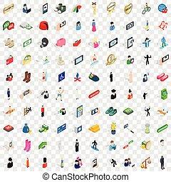 isometrico, icone, set, stile, 100, 3d, uomo