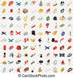 isometrico, icone, set, stile, 100, bordo, 3d