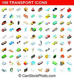 isometrico, icone, set, stile, 100, trasporto, 3d