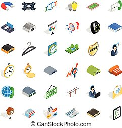 isometrico, icone, set, stile, attività, acquisto