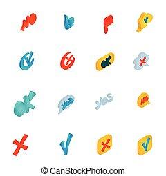 isometrico, icone, set, stile, marchio, assegno, 3d