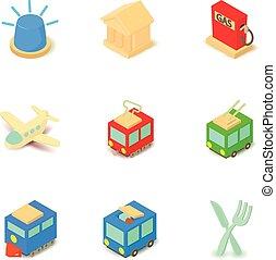 isometrico, icone, set, stile, sociale, trasporto
