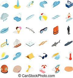 isometrico, icone, set, stile, superficie, mare