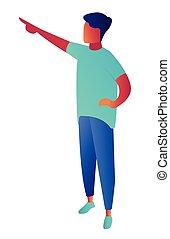 isometrico, illustration., indicare, mano, qualcosa, uomo affari, 3d