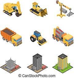 isometrico, insieme costruzione, icone