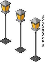 isometrico, lanterna, vetro, colorare, vendemmia, immagine, vaso, illustrazione, fondo., vettore, giallo, trendy, bianco, soggetto, style., retro