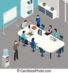 isometrico, lavoro, riunione, ufficio, illustrazione
