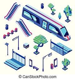 isometrico, metro, treno, illustrazione, vettore, stazione