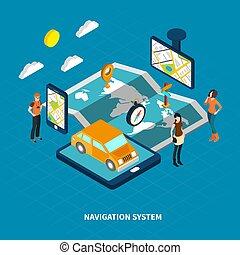 isometrico, navigazione, sistema, illustrazione