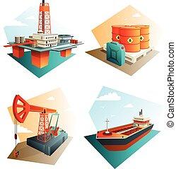 isometrico, olio, icone, industria, petrolio, 4