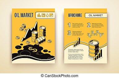 isometrico, olio, vettore, sagoma, opuscolo, mercato