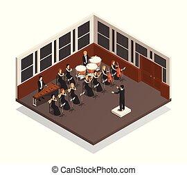 isometrico, orchestra, illustrazione
