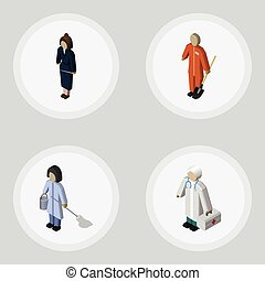 isometrico, persona, set, di, donna d'affari, domestica, pulitore, e, altro, vettore, objects., anche, include, costruttore, lavoratore, pulitore, elements.