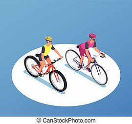 isometrico, persone fondo, bicycles