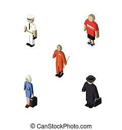isometrico, persone, set, di, marinaio, pulitore, detective, e, altro, vettore, objects., anche, include, hostess, marinaio, signora, elements.