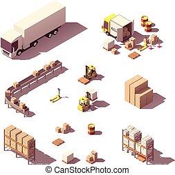 isometrico, poly, apparecchiatura, vettore, basso, magazzino