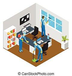 isometrico, pulizia, ufficio, composizione